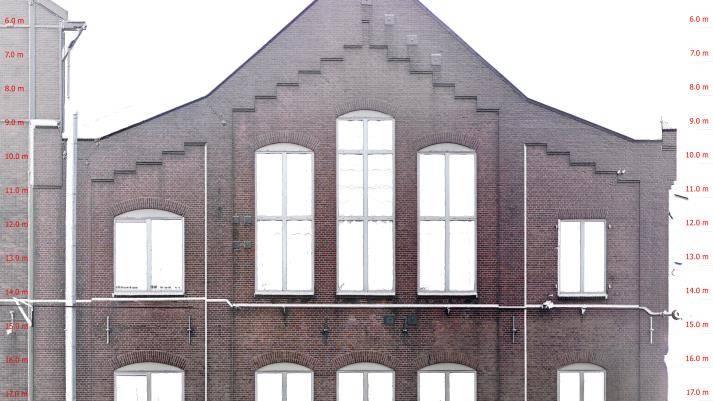 Orthofoto gevel Van Gendt Hallen Amsterdam