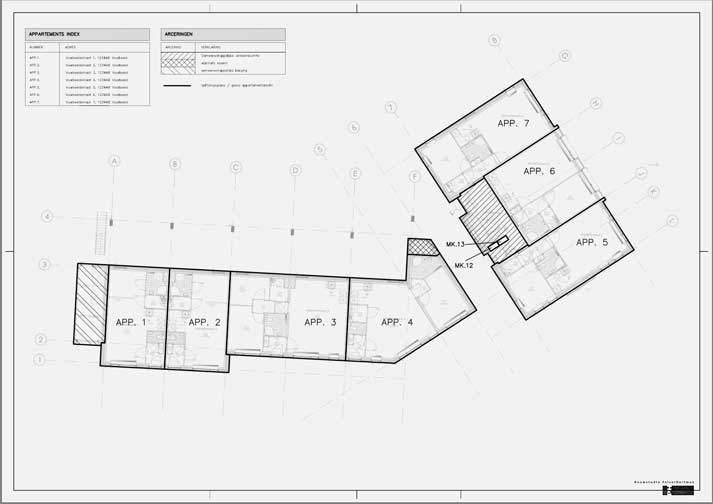 Splitsingstekening voorbeeld van appartementen