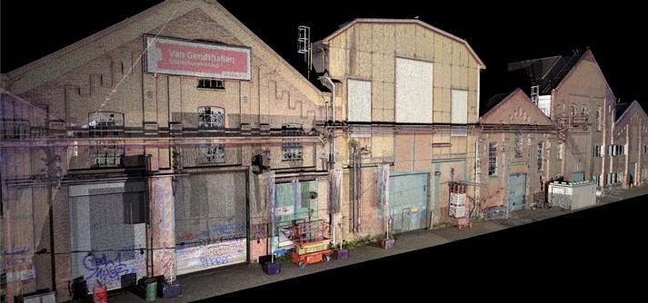 Van Gendt hallen pointcloud in Archicad