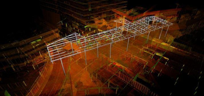 Modelleren luifel winkelcentrum in pointcloud 3D scan