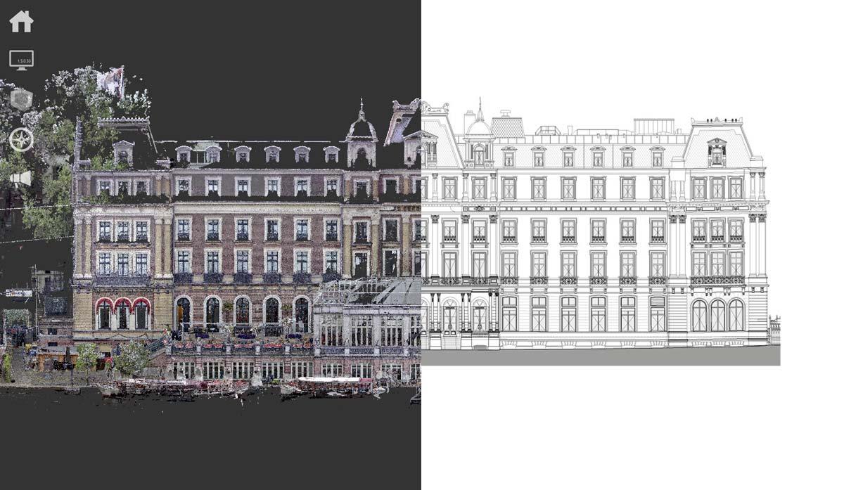 Geveltekening Amstelhotel Amsterdam 3D laserscan