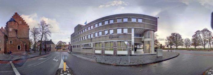 Panorama foto van het pand van Rijkswaterstaat in's-Hertogenbosch, gemaakt met een 3D laserscanner.