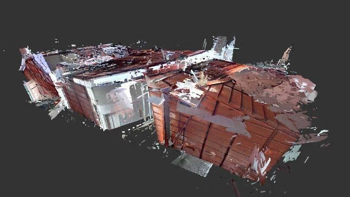 Het totale paviljoen is met de 3D meting gevangen in een puntenwolk van miljoenen punten en vanuit elke hoe te bekijken.