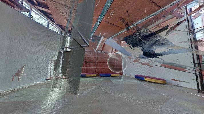 Dit beeld is gemaakt met een 3D laserscanner en laat miljoenen meetpunten zien. De pointcloud is op een computer te draaien en vanuit elke hoek te bekijken.