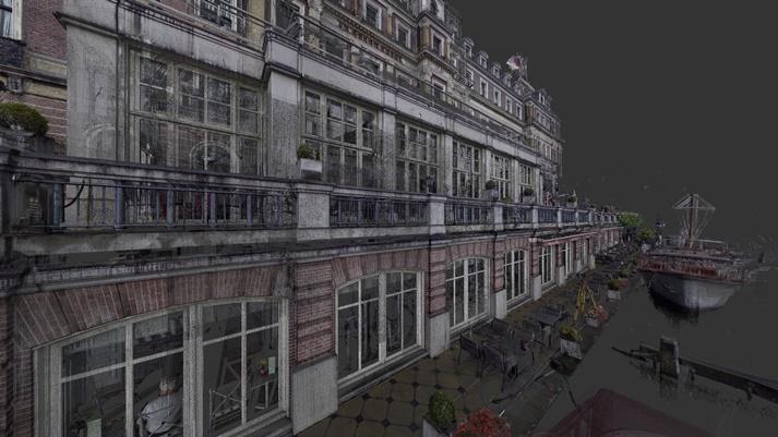 3D Pointcloud van het Amstelhotel aan de zijde van rivier de Amstel
