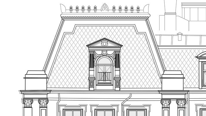 Detail geveltekening Amstel Hotel restauratie