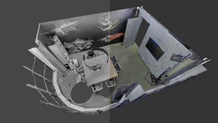 voorbeeld 3D scan gekleurde ongekleurde pointcloud vergaderruimte