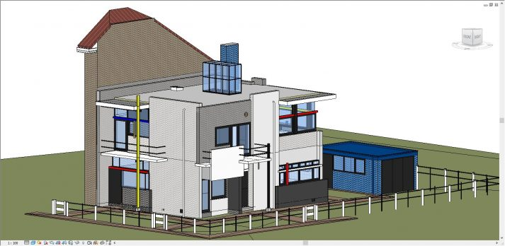 3D model Revit Rietveld Schröderhuis