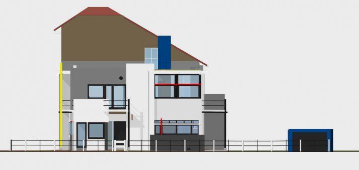 3D model Rietveld Schröderhuis zijkant