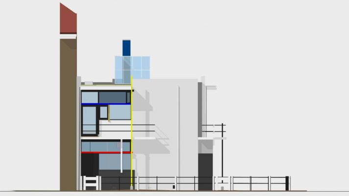 Vooraanzicht 3D model Rietveld Schröderhuis Utrecht