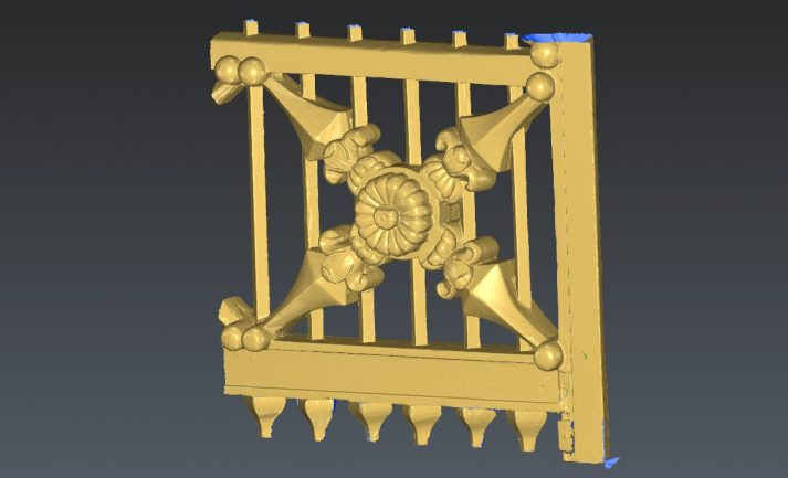 monumentaal detail houten poort precisie scanner