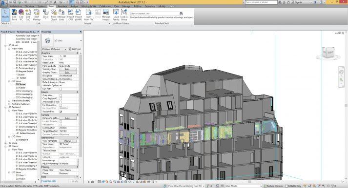 Film 3D modelleren van gebouwen met pointclouds