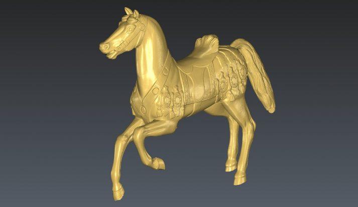 mesh bronzen beeld paard gemaakt met handscanner
