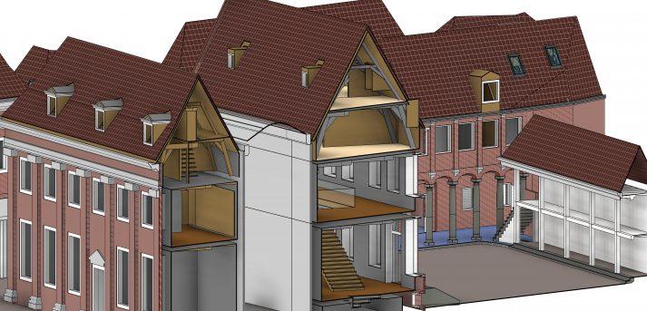 3D BIM model centrale maatvoering