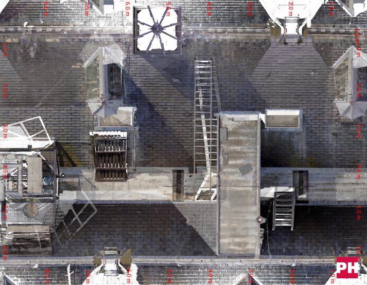 3D scannen daken gebouwencomplex
