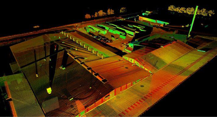 Pointcloud uit 3D scanner van dak
