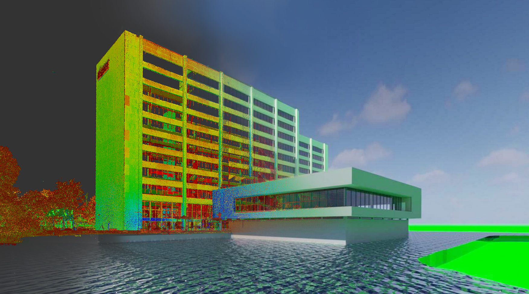 Ongekleurd RCP-pointcloud wordt Revit model