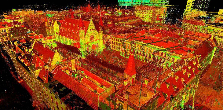 Ongekleurde pointcloud Binnenhof Den Haag gemaakt met high-end 3D laserscanner
