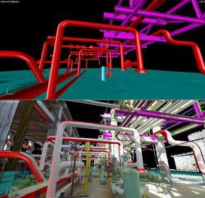 Een voorbeeld ingescande situatie (onder) en een 3D Solid Model wat daar uit is gegenereerd (boven) en wat daarna aangepast kan worden naar een nieuwe installatie.